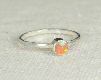 Small Silver Opal Ring, Opal Ring, Fire Opal Ring, Mothers Ring, Opal Jewelry, Stacking Ring, October Birthstone Ring
