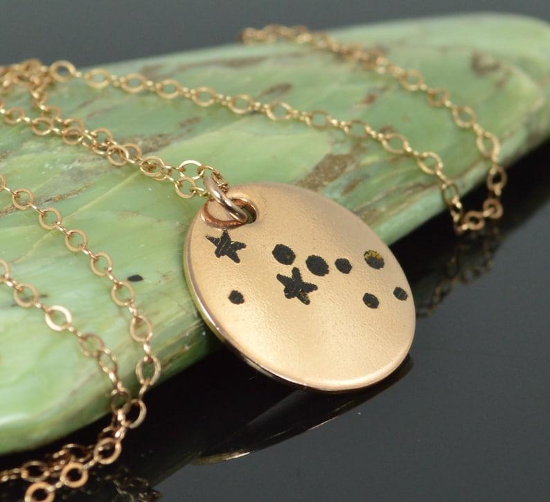 14k Rose Gold Filled Taurus Necklace Taurus Necklace Rose image 0