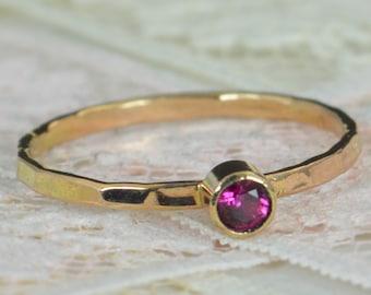 Ruby Engagement Ring, 14k Gold, Ruby Wedding Ring Set, Rustic Wedding Ring Set, July's Birthstone, Solid 14k Ruby Ring