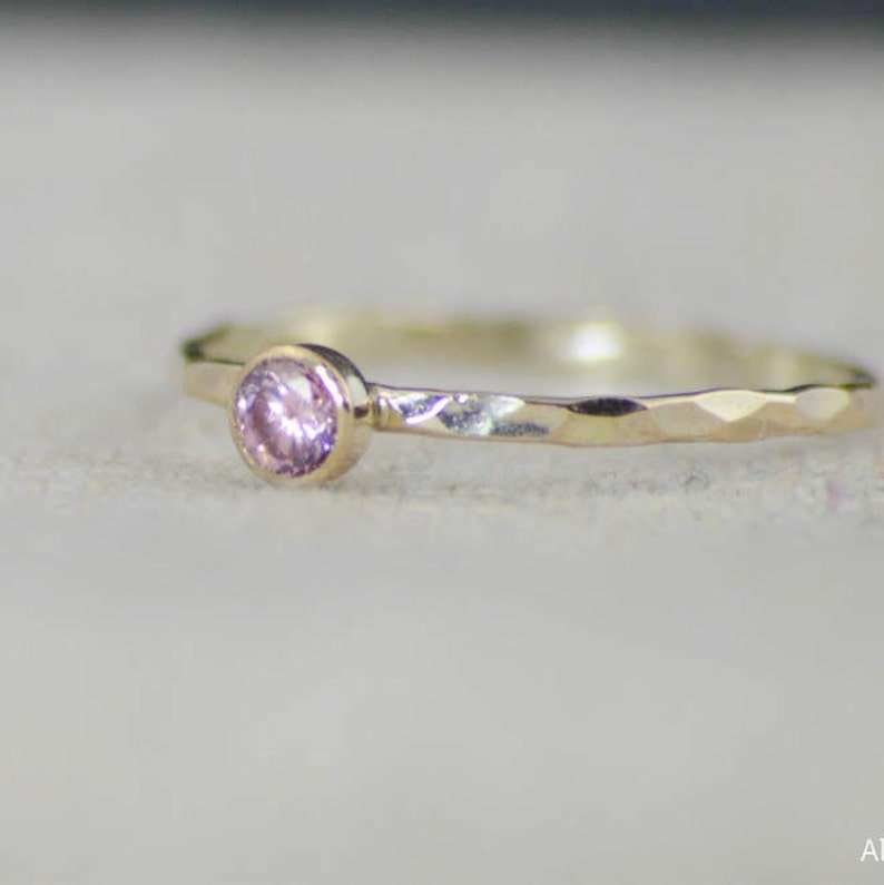 Dainty Gold Filled Pink Tourmaline Ring Hammered Gold image 0