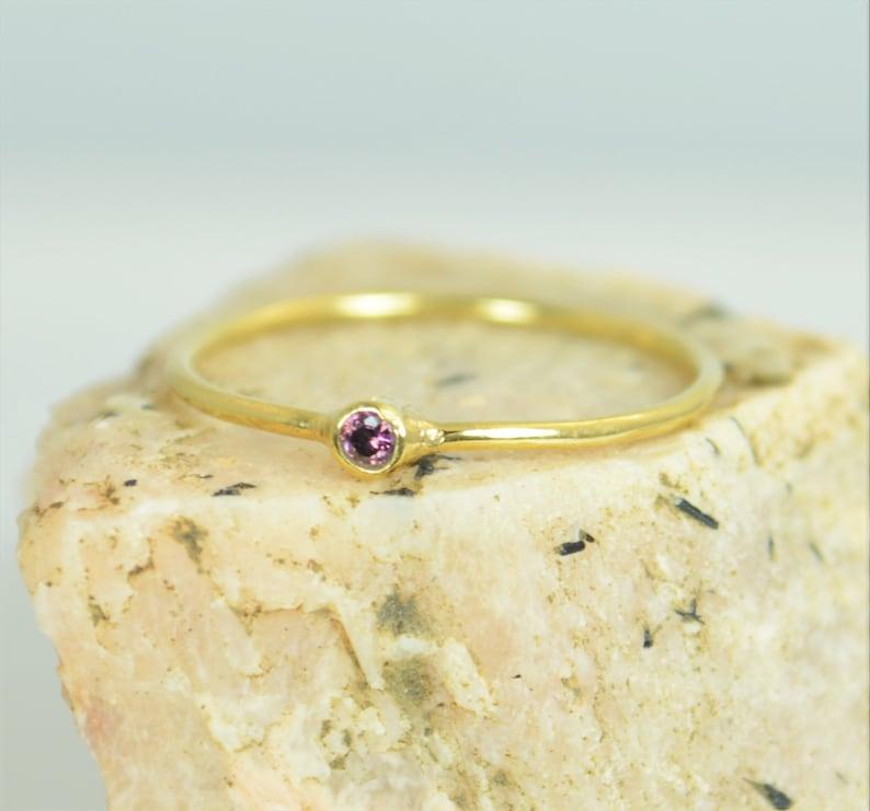 Tiny Alexandrite Ring Alexandrite Stacking RingSolid 14k image 0