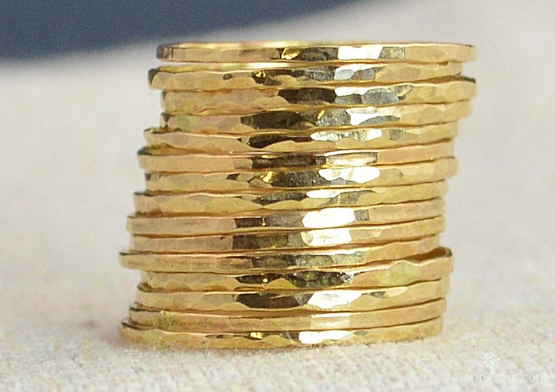 Set of 15 Super Thin 14k Gold Stackable Rings 14k Gold image 0