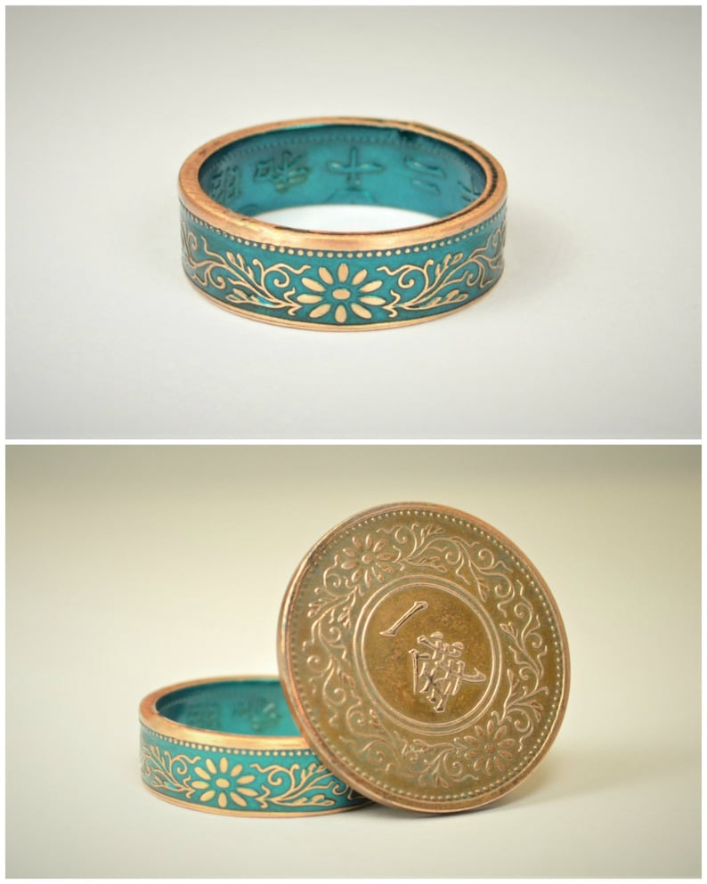 Coin Ring Turquoise Ring Japanese Ring Bronze Ring Red