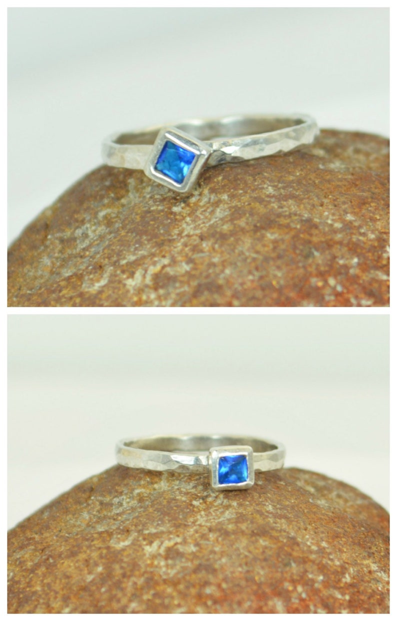 Square Zircon Ring Blue Zircon White Gold Ring Decembers image 0
