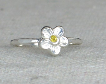 Small Flower Topaz Ring, Silver Topaz Ring, Flower Ring, Forget Me Not, Flower Jewelry, Sterling Flower Ring, Topaz floral ring