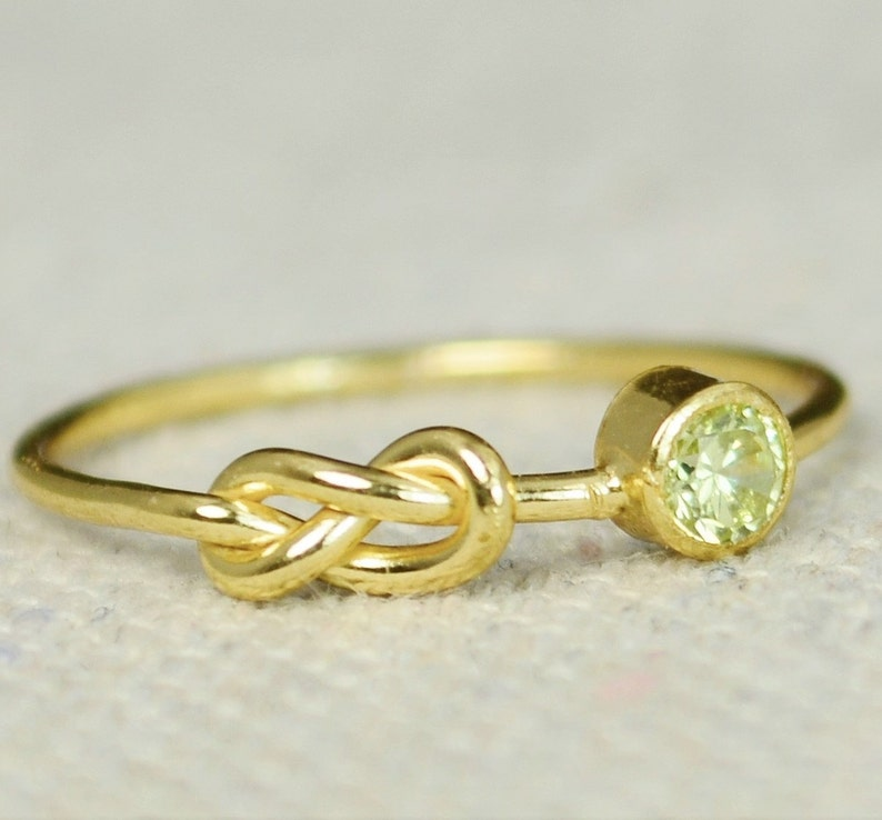 Peridot Infinity Ring Gold Filled Ring Stackable Rings image 0