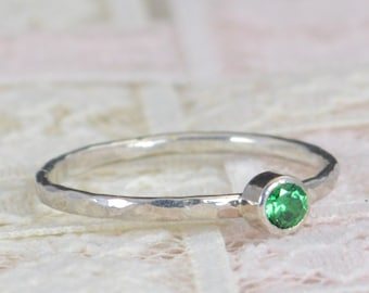 Emerald Engagement Ring, Sterling Silver, Emerald Wedding Ring Set, Rustic Wedding Ring Set, May Birthstone, Sterling Silver Emerald Ring