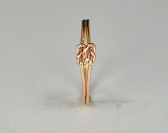 Dainty Rose Gold Double Knot Ring, Love Ring, Love Knot Ring, BFF Ring, Bridal Ring, Promise Ring, Mother Daughter Ring