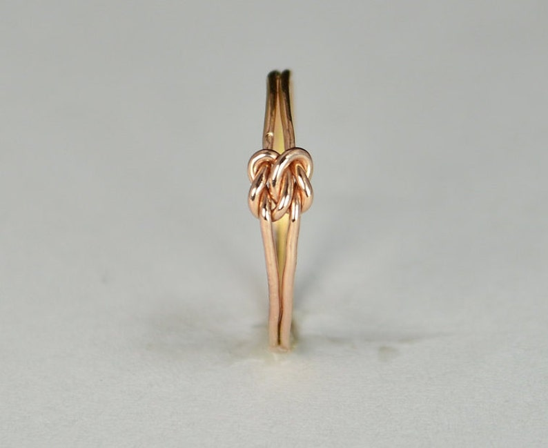 Dainty Rose Gold Double Knot Ring Love Ring Love Knot Ring image 0