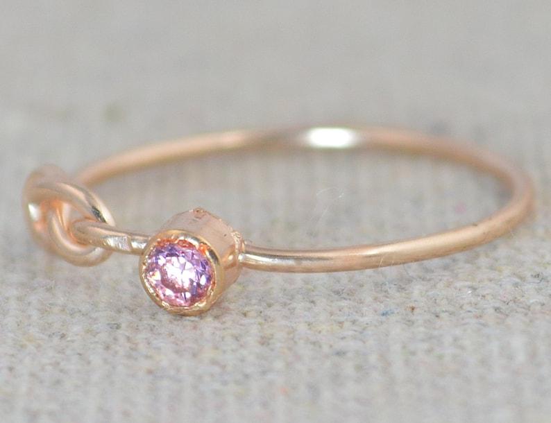 Pink Tourmaline Infinity Ring Rose Gold Filled Ring image 0