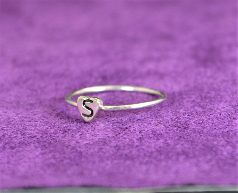 Initial Heart Ring Monogram Heart Ring Silver Heart Ring image 0