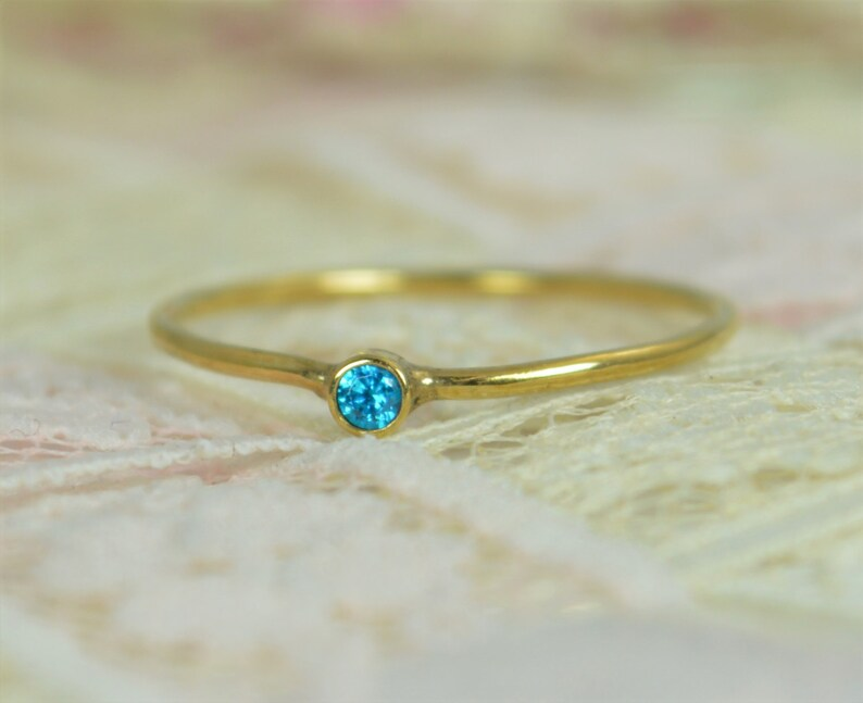 Tiny Blue Topaz Ring Set Solid 14k Gold Wedding Set Stacking image 0