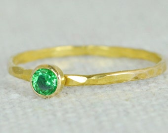 Emerald Ring, Dainty Gold Filled, Hammered Gold, Stacking Rings, Mothers Ring, May Birthstone, Emerald Ring, Rustic Emerald Ring