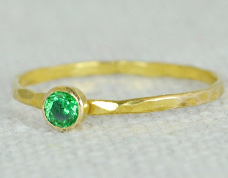 Emerald Ring Dainty Gold Filled Hammered Gold Stacking image 0