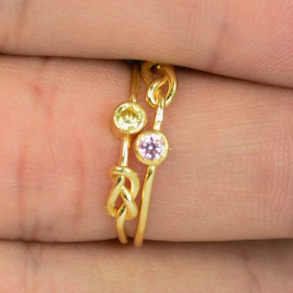Pink Tourmaline Infinity Ring Gold Filled Ring Stackable image 1