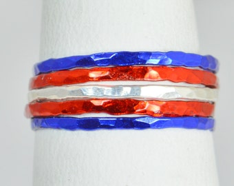 New England Patriots Team Color Ring Set, Sterling Silver, Ceramic Color, Sports Inspired Colors, Stacking Ring Set, Dainty Rings, Team