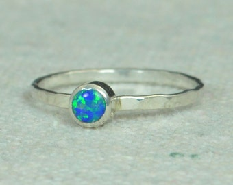 Small Silver Opal Ring, Sterling Opal Ring, Blue Opal Ring, Mothers Ring, Opal Jewelry, Stacking Ring, October Birthstone Ring