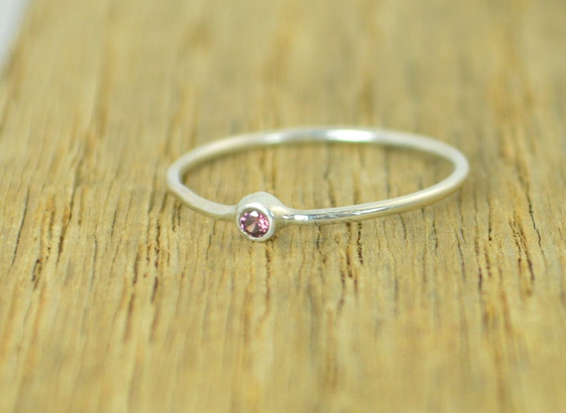Tiny Alexandrite Ring Silver Alexandrite Stacking Ring image 0