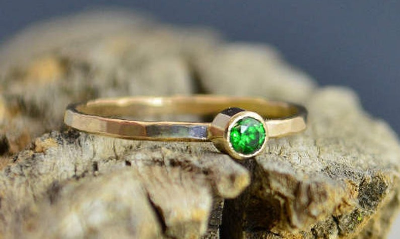 Classic Solid 14k Gold Emerald Ring 3mm Gold Solitaire image 0