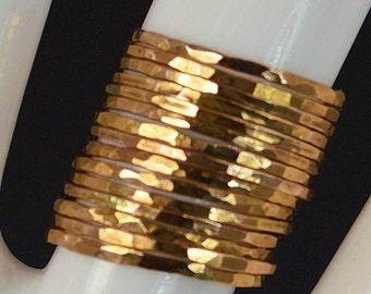 Set of 15 Super Thin Rose Gold Rings, 14k Rose Gold Filled, Stacking Rings, Hammered Rings, Rose Gold Rings, Alari, Simple Ring, Rose Rings
