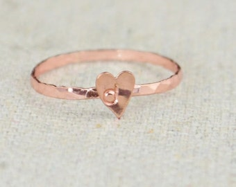 Tiny Rose Heart Ring, Sterling Silver, Rose Gold Ring, Personalized Heart Ring, Rose Ring, Initial Heart Ring, Initial Ring, BFF Ring