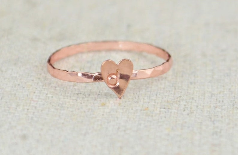 Tiny Rose Heart Ring Sterling Silver Rose Gold Ring image 0