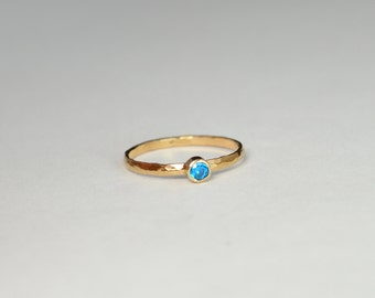 Classic Solid 14k Rose Gold Blue Zircon  Ring, 3mm Solitaire, Solitaire, Real Gold, December Birthstone, Mothers Ring, Solid Rose Gold, band
