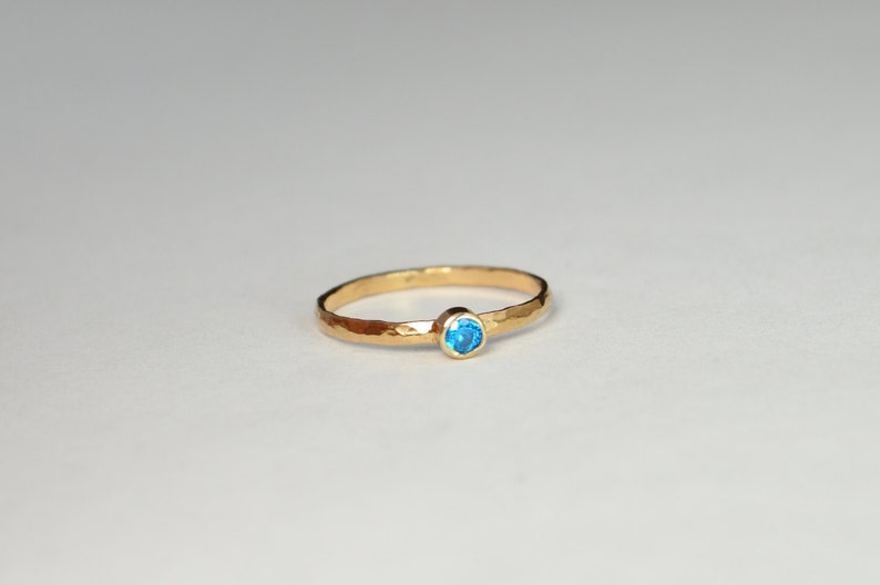 Classic Solid 14k Rose Gold Blue Zircon  Ring 3mm Solitaire image 0