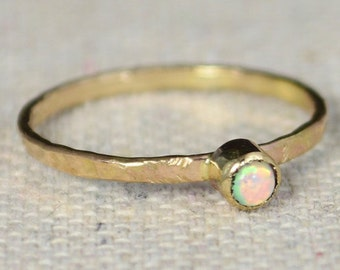 14k Gold Filled Opal Ring, 3mm gold solitaire, solitaire ring, 14k Gold, October Birthstone, Mothers Ring, Gold Filled band, gold, Solitaire