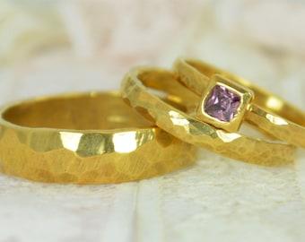 Square Alexandrite Engagement Ring, 14k Gold, Alexandrite Wedding Ring Set, Rustic Wedding Ring Set, June Birthstone, Alexandrite