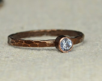 Bronze Copper CZ Diamond Ring, Classic Size, Stackable Rings, Mother's Ring, April Birthstone, Copper Jewelry, White Ring, Pure Copper, Band