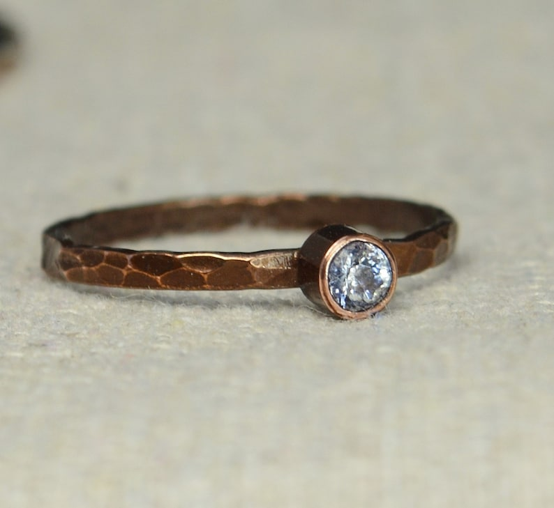 Bronze Copper CZ Diamond Ring Classic Size Stackable Rings image 0
