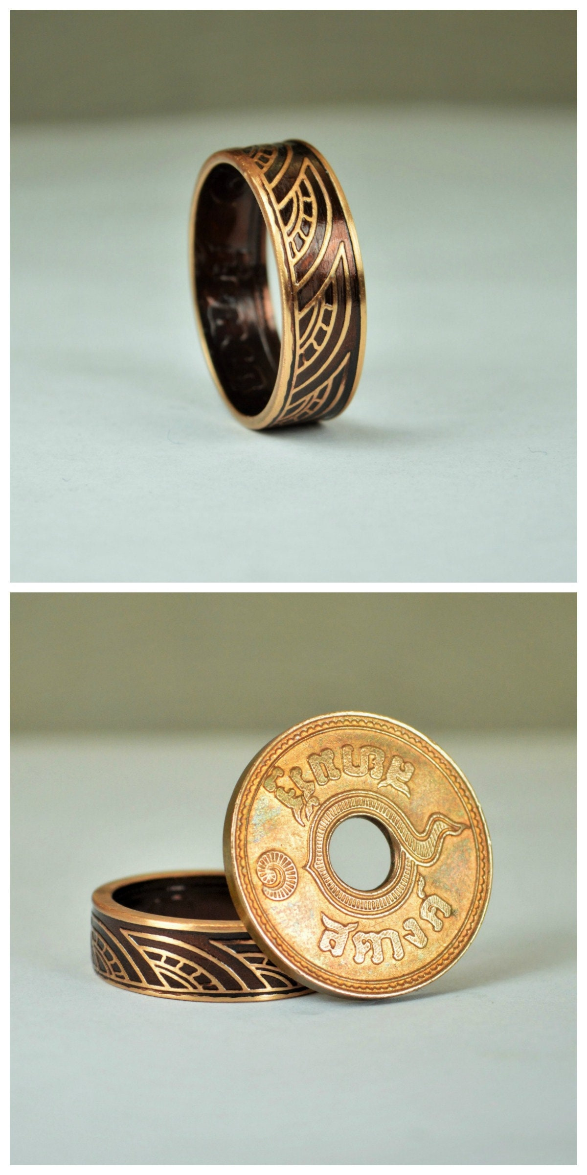 Brown Thai Coin Ring, Wave Ring, Ray Ring, Thailand Coin ring, Coin