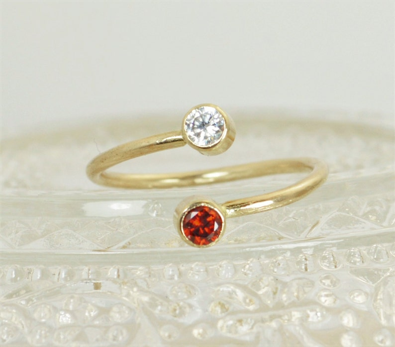 Gold Filled Bypass Ring Bypass Ring Wrap Ring Dual Stone image 1