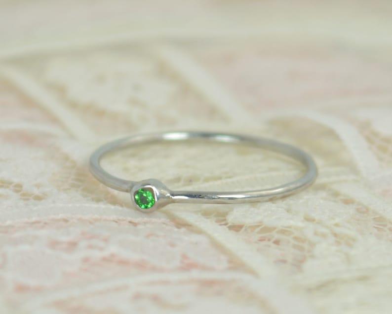 Tiny Emerald Ring Set Solid White Gold Wedding Set  Stacking image 0