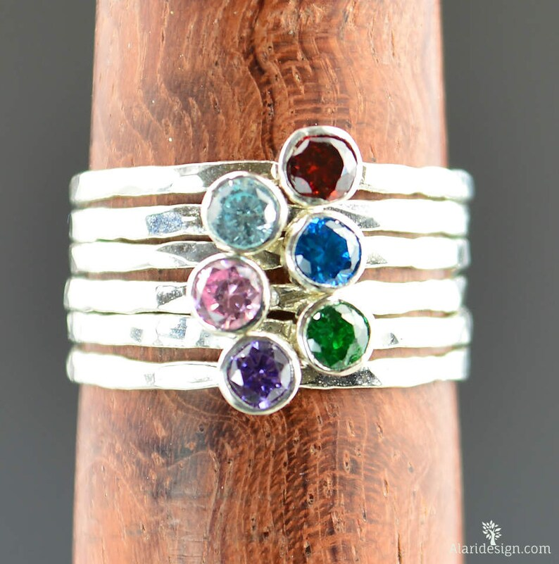 Grab 6  Dainty Silver Mothers Rings Mother's Ring image 0