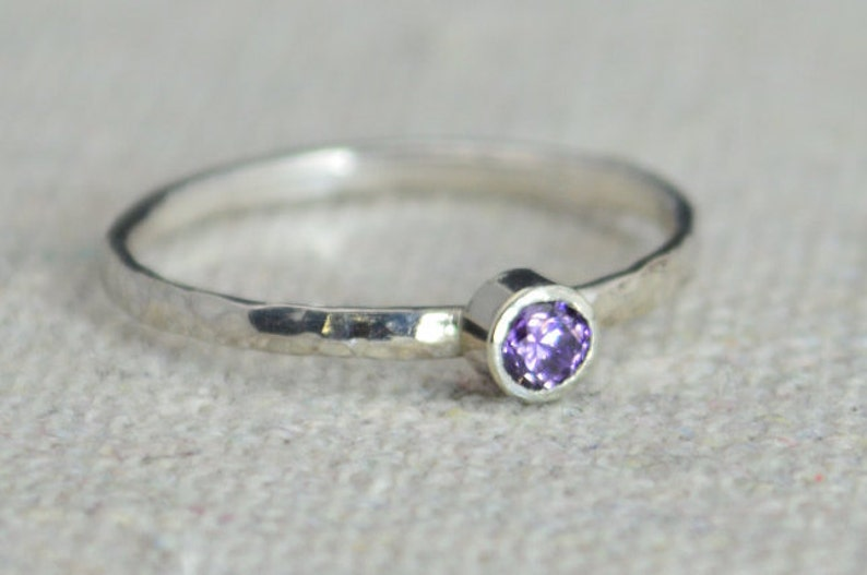 Classic Sterling Silver Amethyst Ring Silver Solitaire image 0