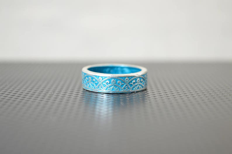 Moroccan Coin Ring Turquoise Coin Ring Stained Glass Ring image 0