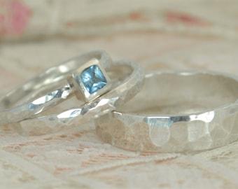 Square Aquamarine Engagement Ring, Sterling Silver, Aquamarine Wedding Ring Set, Rustic Wedding Ring Set, March Birthstone, Aquamarine