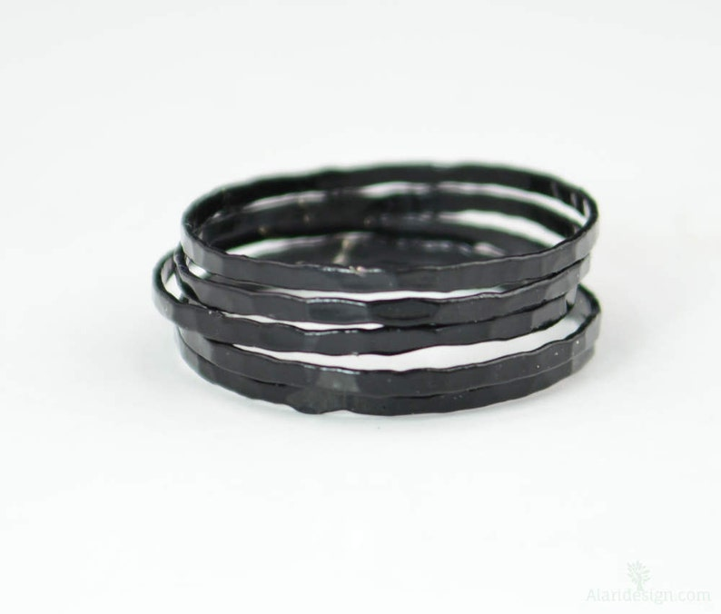 Super Thin Black Silver Stackable Rings Black Ring Stack image 0