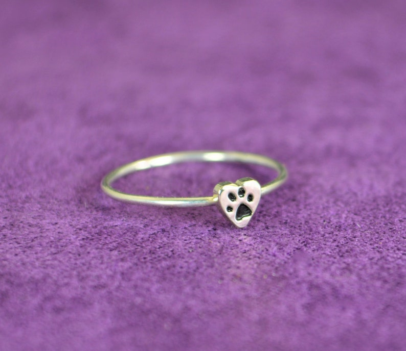 Silver Dog Print Ring Pet Jewelry Monogram Heart Ring image 0