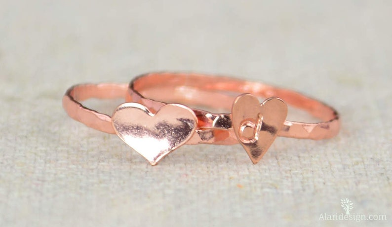 Rose Heart Ring Sterling Silver Stacking Ring Personalized image 0