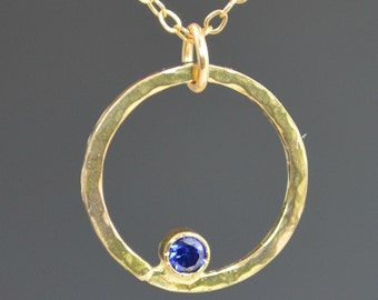 Solid 14k Gold Sapphire Necklace, Mothers Necklace, Mom Necklace,September Birthstone Necklace, Sapphire Necklace,Mother's Necklace,Sapphire