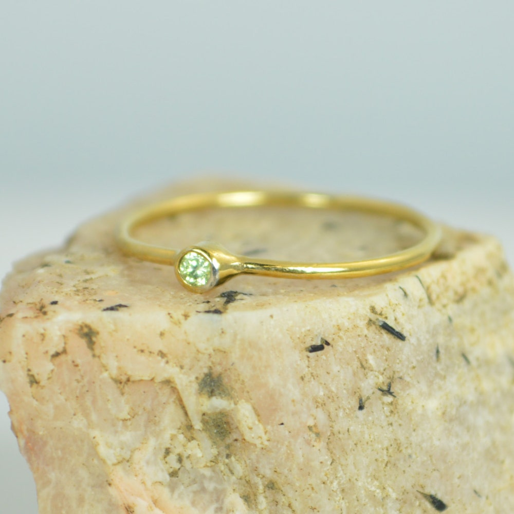 Tiny Peridot Ring Peridot Stacking Ring Solid 14k Gold image 0