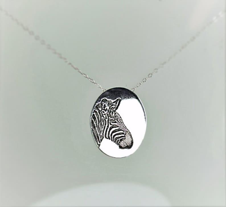 Zebra Pendant Zebra Necklace Silver Zebra Necklace Animal image 0