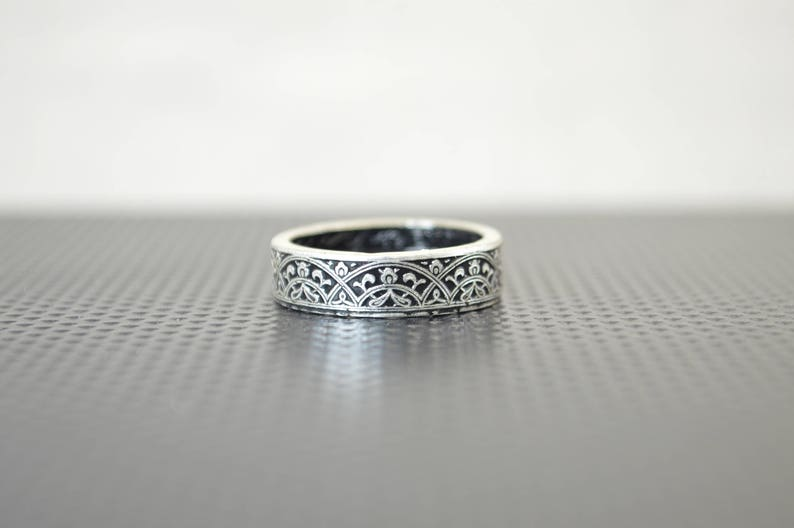 Moroccan Coin Ring Black Coin Ring Stained Glass Ring Black image 0
