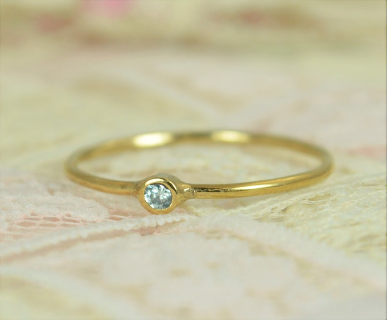 Tiny Aquamarine Ring Set Solid 14k Gold Wedding Set image 0