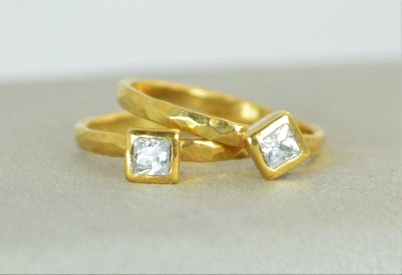 Square CZ Diamond Ring Diamond 14k Gold Ring April's image 0