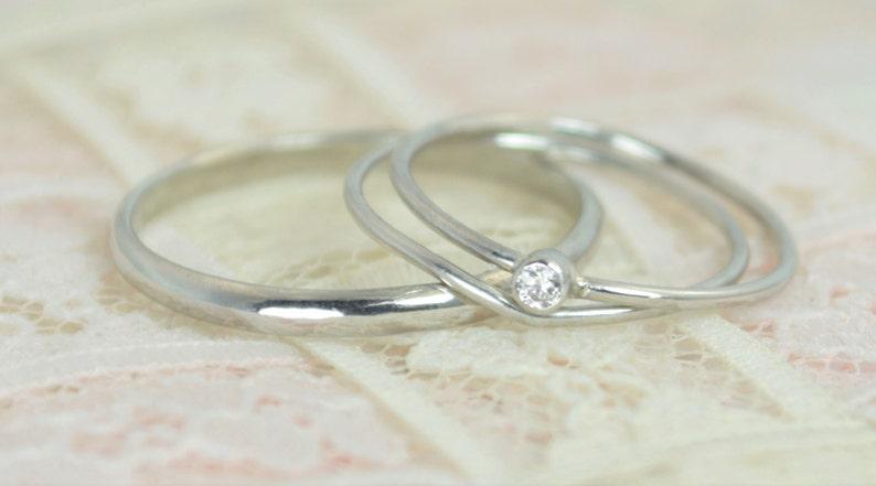 Tiny Diamond Ring Set Solid White Gold Wedding Set Diamond image 0