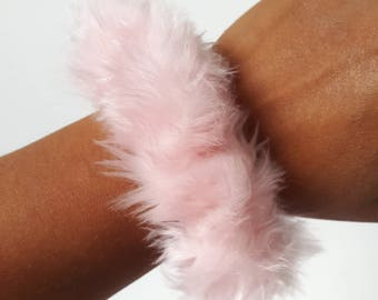 Small Baby Pink Fun Fur Fluffy Scrunchie